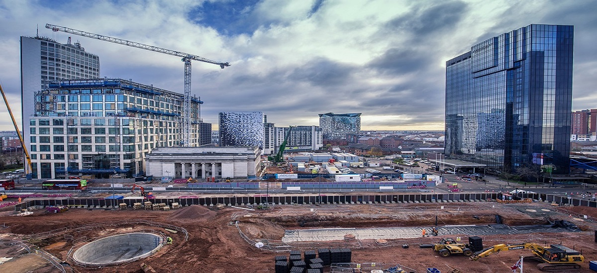 BIRMINGHAM, UK - DECEMBER 01, 2017: Paradise Project, Urban Regeneration buidling site in progress, elevated view from library; Shutterstock ID 769692304; Departmental Cost Code : g; Project Code: g; PO Number: g