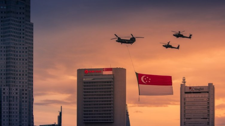 Helicopters with Singapore flag