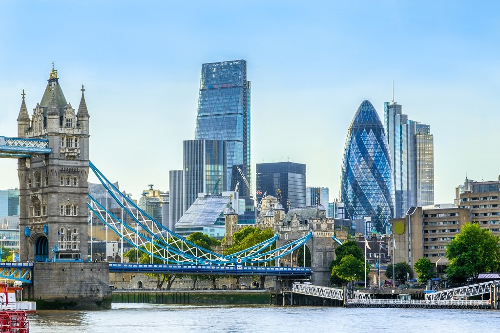 Tower bridge and financial district of London with a cloudless sky at sunset; Shutterstock ID 445599544; Departmental Cost Code : 162800; Project Code: GMKT_SUP_4.9.1E; PO Number: GBLMKT/2015-082